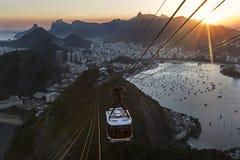 Spektakularny widok Rio De Janeiro od Cukrowego bochenka góry przy zmierzchem zdjęcie royalty free