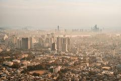 Spektakularny widok W centrum Seul przy półmrokiem Zdjęcia Stock