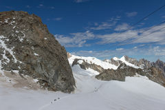 Spektakularny widok Wspinać się Blanc masyw od 360 stopni observati zdjęcia stock