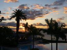 Spektakularny wschód słońca nad schronieniem w Funchal maderze Portugalia Fotografia Stock