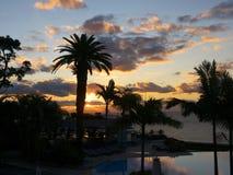 Spektakularny wschód słońca nad schronieniem w Funchal maderze Portugalia Obraz Stock