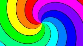 Spektral- virvel för regnbåge som snabbt medurs roterar arkivfilmer