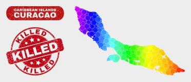 Spektralmosaik-Curaçao-Insel-Karte und verkratztes getötetes Stempelsiegel vektor abbildung