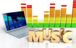 spektrum för ljudsignal för dator för bärbar dator 3d Royaltyfria Bilder