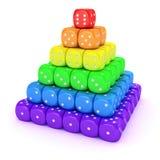 Spektrumpyramide von den Würfeln Stockfotografie