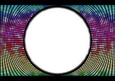 Spektrumregenbogen, schillernder Hintergrund von Kreisen Runde abstrakte Fahne auf schwarzem Hintergrund Schablone für Pastentext Stockfoto