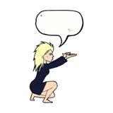 spel отливки женщины шаржа с пузырем речи Стоковое Изображение