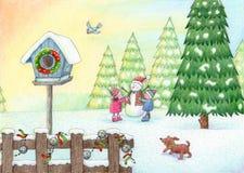 Spel in de Sneeuw vector illustratie