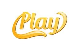 Spel, het gouden embleem van het tekstembleem voor de decoratie van spelsporten, Vectordieetiket op wit wordt geïsoleerd stock illustratie