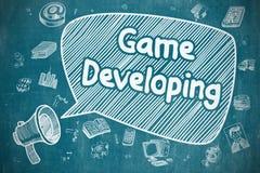 Spel het Ontwikkelen zich - Krabbelillustratie op Blauw Bord Stock Foto