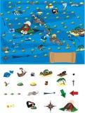 Spel - kaart van schatten Stock Foto's