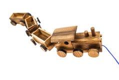 Spel met Houten Toy Train Royalty-vrije Stock Afbeeldingen