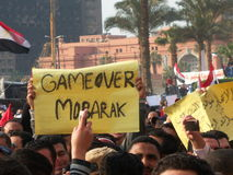 Tahrir Vierkante cemonstrators  Stock Afbeeldingen