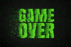 spel over De tekst op het videospelletjescherm Gokken vectorillustratie Stock Foto