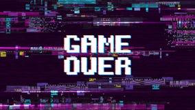 Spel over fantastische computerachtergrond met glitch lawaai retro effect vectorscherm vector illustratie