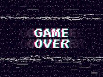 Spel over glitch achtergrond Retro spelachtergrond Het lawaai van Glitchedlijnen VHS-effect voor uw ontwerp Pixelinschrijving stock illustratie