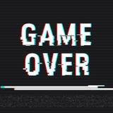 Spel over glitch tekst Anaglyph 3D effect Technologische retro achtergrond Vector illustratie Het creatieve malplaatje van het We Royalty-vrije Stock Fotografie