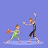 Spel van de het Basketbalsport van de schooljongen het Speel Stock Foto