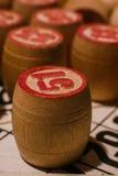 Spel van het tafelblad het oude lotto met houten elementen Stock Foto