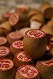Spel van het tafelblad het oude lotto met houten elementen Royalty-vrije Stock Afbeeldingen