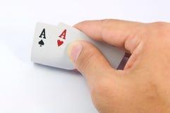 Spel van kaarten met pook van azen Stock Foto