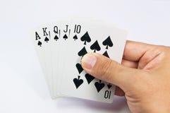 Spel van kaarten met pook van Koninklijke Vloed Royalty-vrije Stock Foto