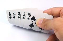 Spel van kaarten met pook van Koninklijke Vloed Stock Afbeelding