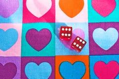 Spel van liefde: het winnen werpt van dobbelt! Stock Foto