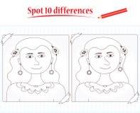 Spel voor jonge geitjes: vlek 10 verschillen Royalty-vrije Stock Afbeeldingen