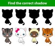 Spel voor kinderen: vind de correcte schaduw (witte kat, grijze kat, bruine en zwarte handeling, bruine kat) stock illustratie