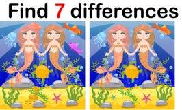 Spel voor kinderen: vind verschillen, weinig meermin en overzeese wereld stock illustratie