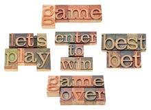 Spel - woordcollage in letterzetseltype Royalty-vrije Stock Afbeelding
