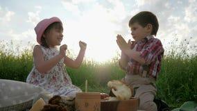 Spela barn och att ha gyckel i ny luft, syskongruppen på picknicken, familjen som vilar i naturen, barn skratta arkivfilmer