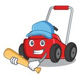 Spela baseballgr?sklipparen i a-maskotformen vektor illustrationer