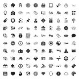 Spela den universella uppsättningen för 100 symboler för rengöringsduk och mobillägenhet royaltyfri illustrationer