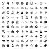Spela den universella uppsättningen för 100 symboler för rengöringsduk och mobillägenhet Arkivbilder