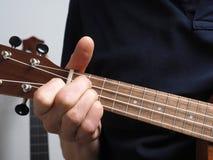Spela en ukulele royaltyfria foton