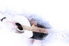 Spela gitarren i förgrunden på vattenfärgmålningbakgrund och den Digital illustrationen borsta till konst Royaltyfri Bild