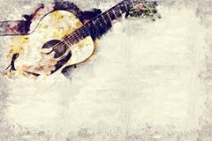 Spela gitarren i förgrunden på vattenfärgmålningbakgrund och den Digital illustrationen borsta till konst Royaltyfri Foto