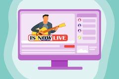 Spela gitarren Live On The Internet vektor illustrationer