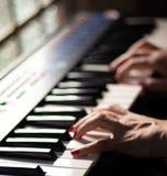 Spela härlig musik med ett tangentbord royaltyfria foton