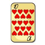 Spela hjärta för kortdräkt tio också vektor för coreldrawillustration royaltyfri illustrationer
