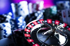 Spela i kasino Kasinotemabakgrund arkivfoto