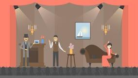 Spela i teater vektor illustrationer