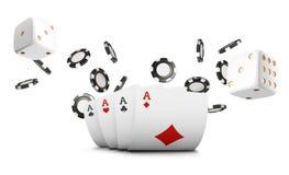 Spela kort, flyger pokerchiper och tärningen kasinot på vit bakgrund Pokerkasinoillustration Online-kasinogam vektor illustrationer