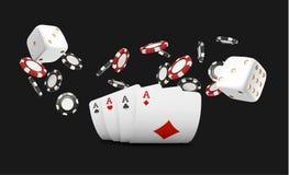 Spela kort och den klipska kasinot för pokerchiper Begrepp på svart bakgrund Pokerkasinoillustration Rött och blac vektor illustrationer