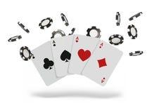 Spela kort och den klipska kasinot för pokerchiper begrepp på vit bakgrund Pokerkasinoillustration vektor illustrationer