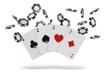 Spela kort och den klipska kasinot för pokerchiper begrepp på vit bakgrund Pokerkasinoillustration royaltyfri illustrationer