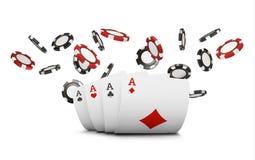 Spela kort och den klipska kasinot för pokerchiper begrepp på vit bakgrund Pokerkasinoillustration Rött och blac royaltyfri illustrationer
