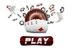 Spela kort och den klipska kasinot för pokerchiper Kasinoroulettbegrepp på vit bakgrund Pokerkasinoillustration Beträffande stock illustrationer